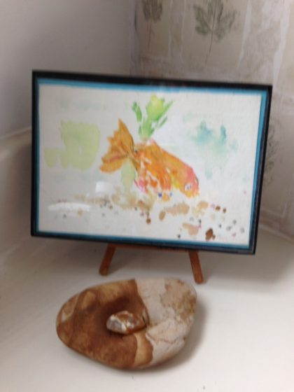 "My watercolor ""Two Fish"" with a really cool rock I found and a lovely agate a fellow beach comber gave me"