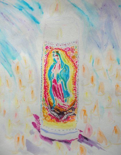 """Mother Mary Candle,"" mixed media drawing by Maria Theresa Maggi"