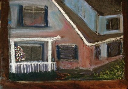 """Christmas Tree Throumough Two Windows,"" pastel memory sketch by MTM"
