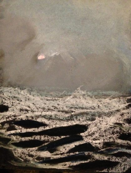 """""""Bedrock with Storm Surge and Sunset,"""" pastel memory sketch by Maria Theresa Maggi"""