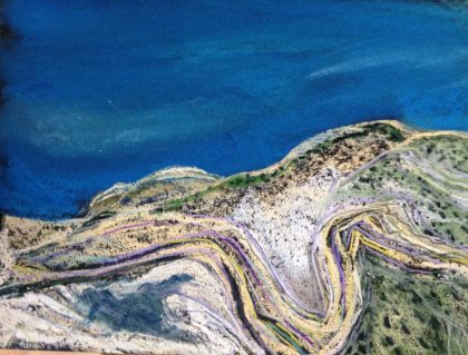 Fault Geology pastel sketch by Maria Theresa Maggi