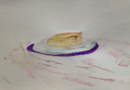 """Pinseapple Corn Bread,"" pastel memory sketch by Maria Theresa Maggi"