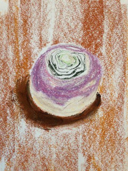 """""""Rutabaga,"""" pastel life sketch, by Maria Theresa Maggi"""