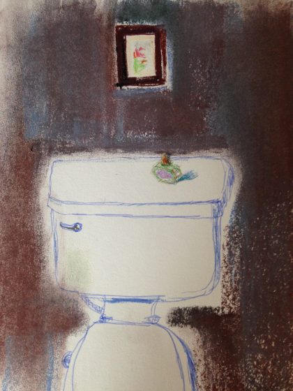 """Portrait of My Toilet,"" pastel life sketch by Maria Theresa Maggi"