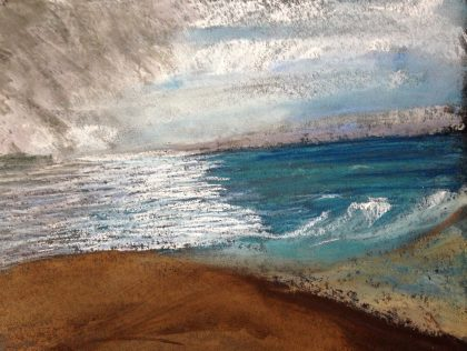 """Three Skies on the Ocean,' pastel memory sketch, by Maria Theresa . Maggi"