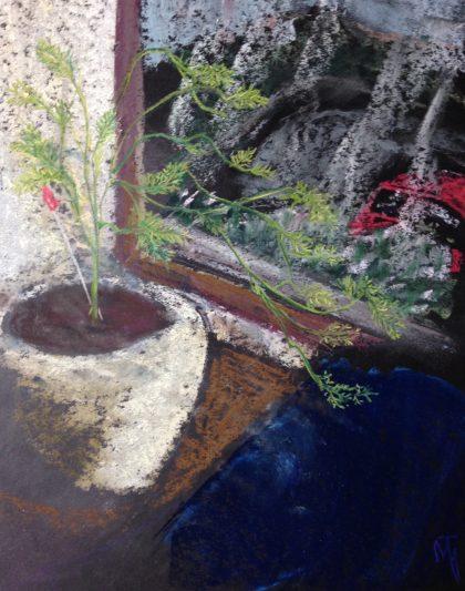 """Asparagus Fern,"" pastel memory sketch by Maria Theresa Maggi"