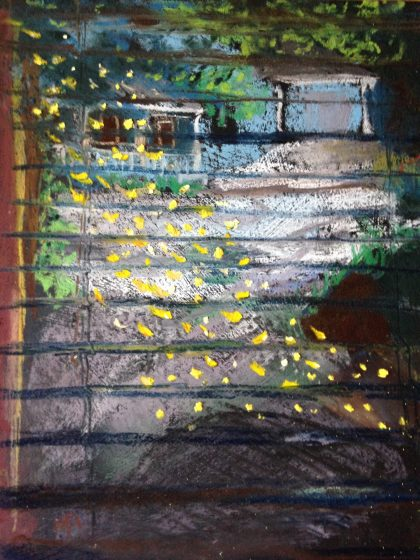 """Golden Pollen Outside My Window,"" pastel memory sketch by Maria Theresa Maggi"