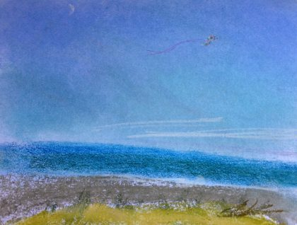 """Moon and Kite Over Ocean,"" pastel memory sketch by Maria Theresa Maggi"