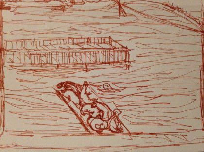 """Sea Lion Dock in Yaquina Bay,"" pen and ink memory sketch, by Maria Theresa Maggi"