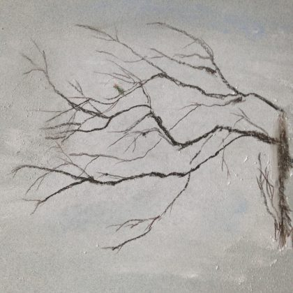 Alder Branch with Hummingbird pastel life memory sketch by MTM for blog