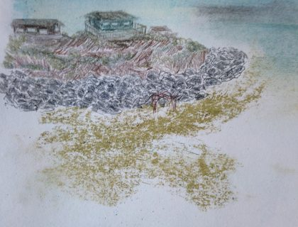 """Little Shelter Beneath the Bluff ,""mixed media memory sketch by Maria Theresa Maggi"
