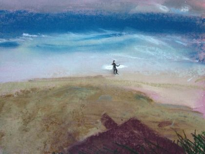 """Early Morning Surfer with Cabana Shadow on Sand,"" pastel memory sketch by Maria Theresa Maggi"