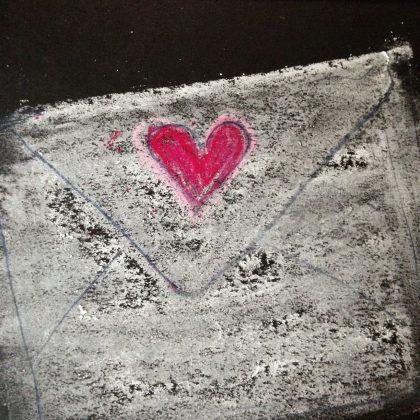 Heart Envelope chalk pastel by Maria Theresa Maggi