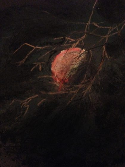 """Blood Moon Wolf Moon,"" pastel life sketch by Maria Theresa Maggi"