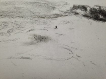 """Low Tide Facing North,"" charcoal memory sketch by Maria Theresa Maggi"