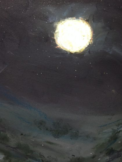 """Full Moon From Memory"" chalk pastel by Maria Theresa Maggi"